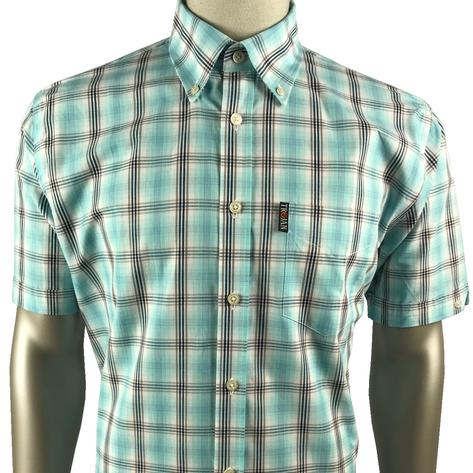 Trojan Records Mens Short Sleeve Over Check Shirt Mint