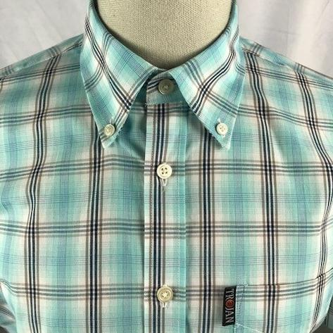 Trojan Records Mens Short Sleeve Over Check Shirt Mint Thumbnail 2