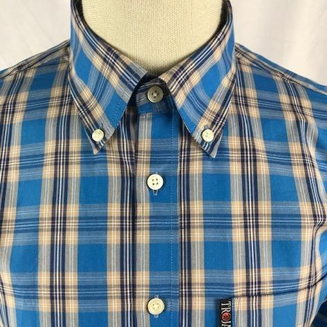 Trojan Records Mens Short Sleeve Check Shirt Bright Blue Thumbnail 2