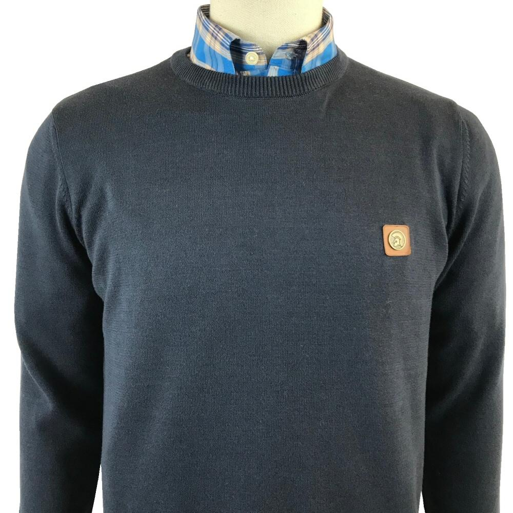 Trojan Records Mens Retro Knit Crew Neck Jumper Navy