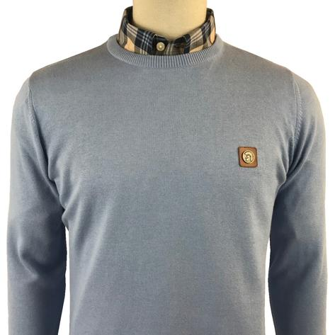 Trojan Records Mens Retro Knit Crew Neck Jumper Sky