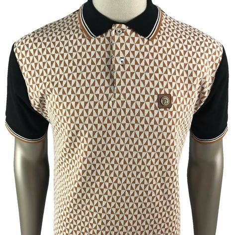 Trojan Records Diamond Panel Button Polo Black
