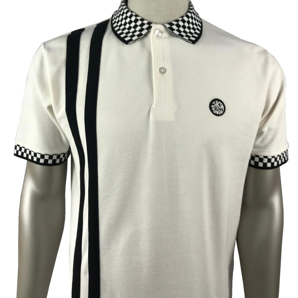 Ska & Soul Checkerboard Racing Stripe Polo Shirt Ecru
