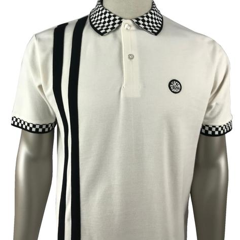 Ska & Soul Checkerboard Racing Stripe Polo Shirt Ecru Thumbnail 1