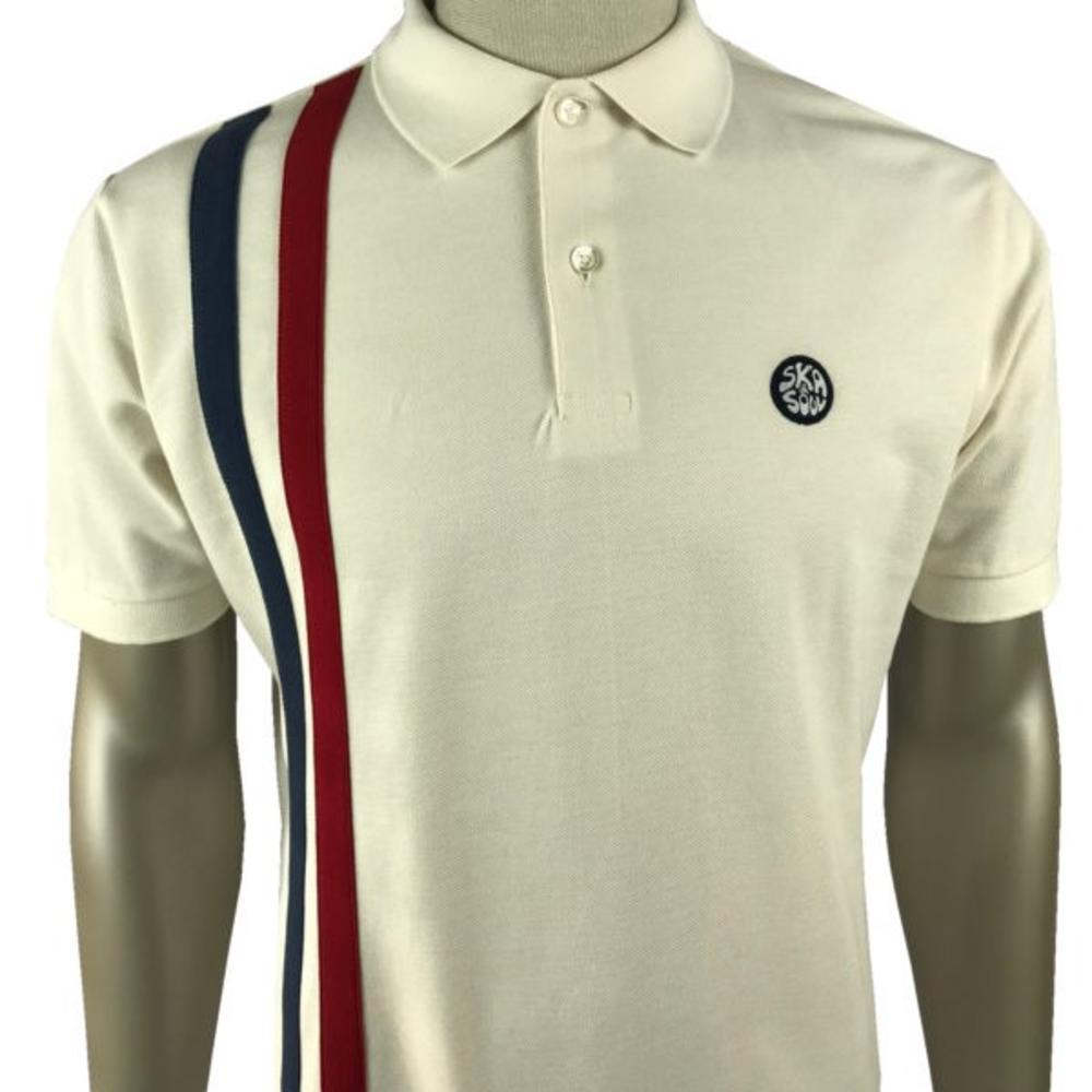 Ska & Soul Mod Twin Racing Stripe Polo Shirt Ecru