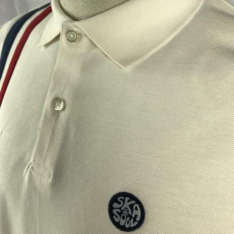 Ska & Soul Mod Twin Racing Stripe Polo Shirt Ecru Thumbnail 2
