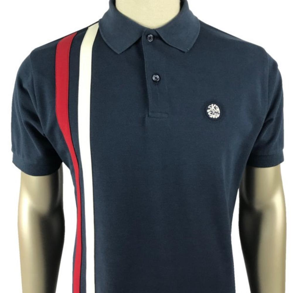 Ska & Soul Mod Twin Racing Stripe Polo Shirt Navy