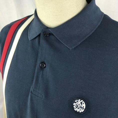 Ska & Soul Mod Twin Racing Stripe Polo Shirt Navy Thumbnail 2