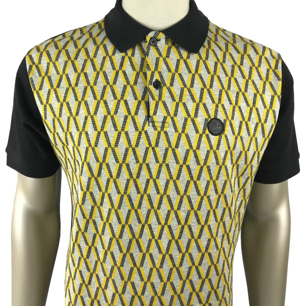 Ska & Soul Geometric Panel Polo Shirt Black Grey Gold