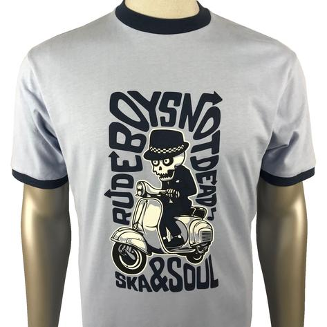 Ska & Soul Rudeboys Scooter Skaleton T Shirt Sky Blue