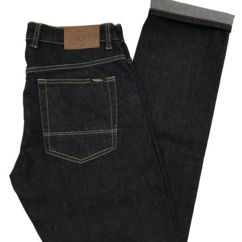 Trojan Records Zip Fly Blue/Black Denim Jeans Thumbnail 1
