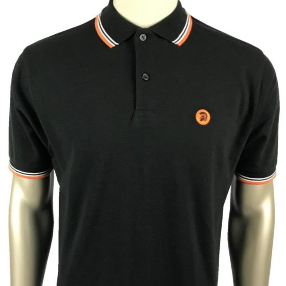 Trojan Records Mens Trojan Tri Tipped Polo Shirt Black