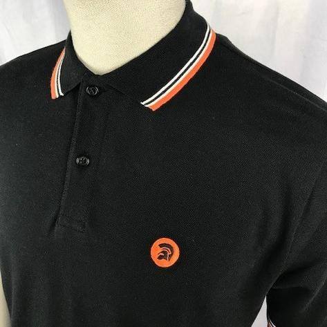 Trojan Records Mens Trojan Tri Tipped Polo Shirt Black Thumbnail 2