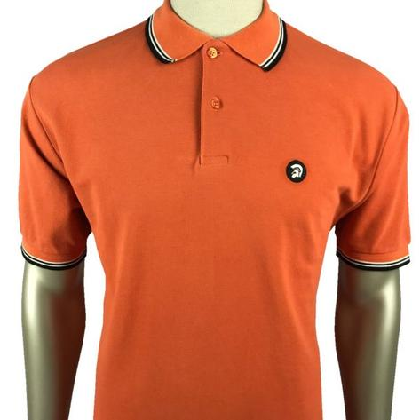 Trojan Records Mens Tri Tipped Polo Shirt Orange Thumbnail 1