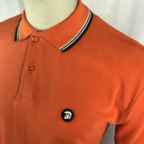 Trojan Records Mens Tri Tipped Polo Shirt Orange Thumbnail 2