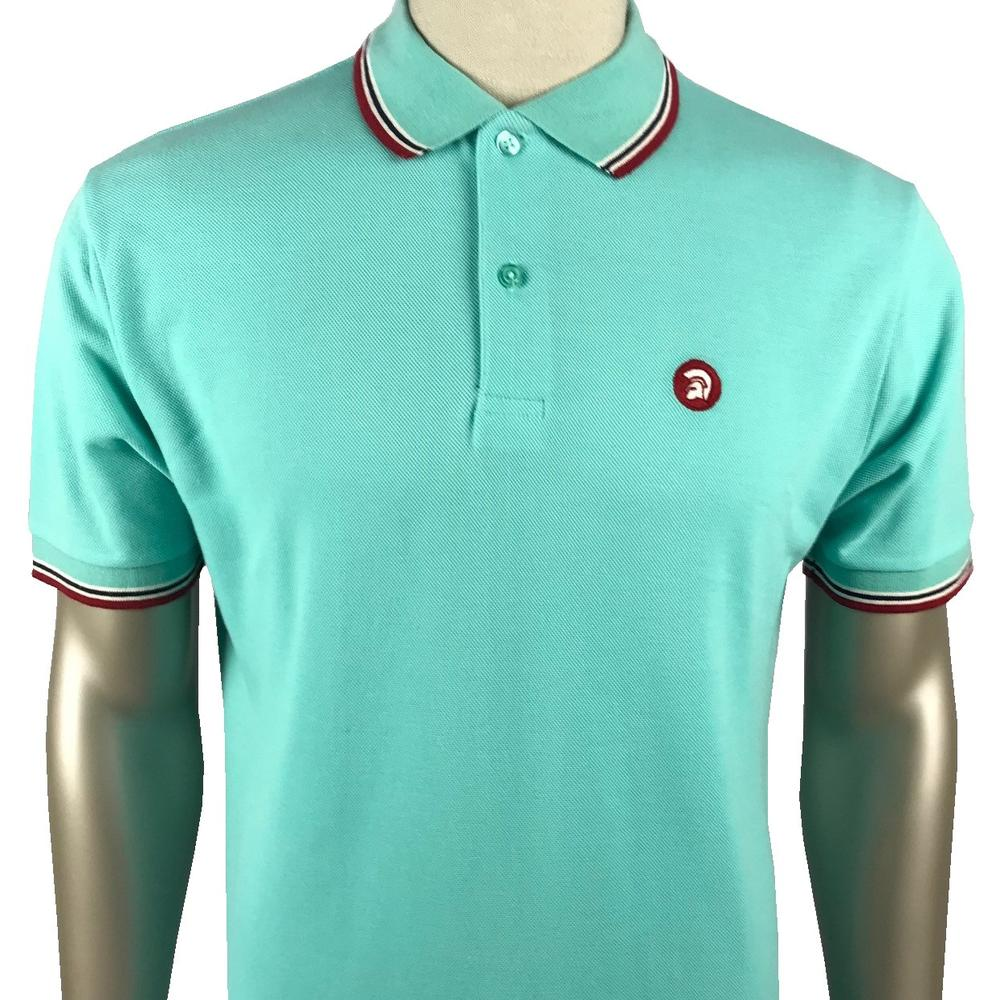 Trojan Records Mens Retro Tipped Collar Polo Shirt Mint