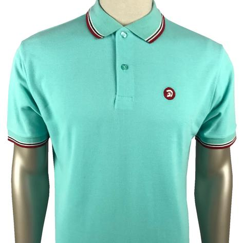 Trojan Records Mens Retro Tipped Collar Polo Shirt Mint Thumbnail 1