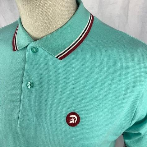 Trojan Records Mens Retro Tipped Collar Polo Shirt Mint Thumbnail 2