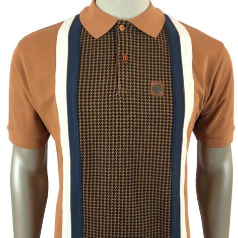 Trojan Records Houndstooth Panel Stripe Polo Tan