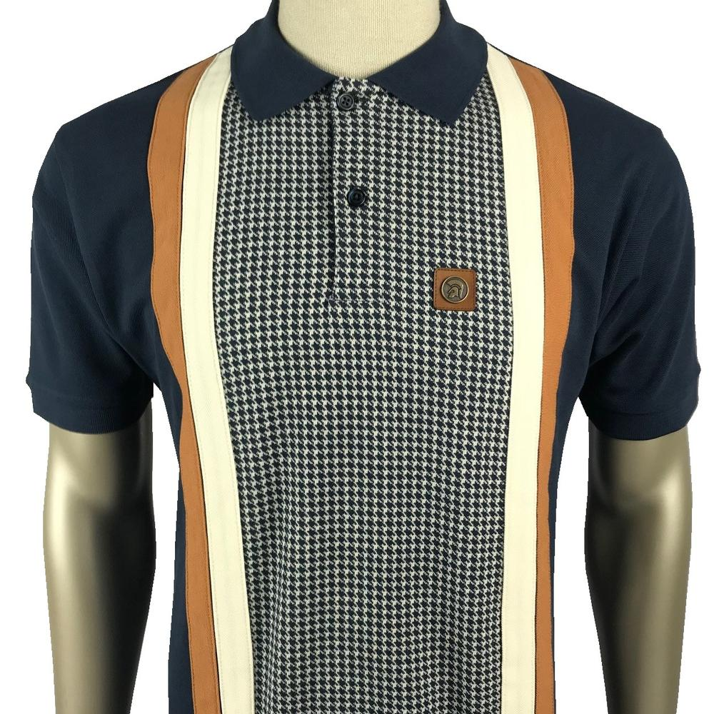 Trojan Records Houndstooth Panel Stripe Polo Navy