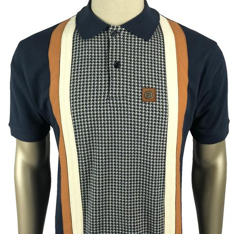 Trojan Records Houndstooth Panel Stripe Polo Navy Thumbnail 1