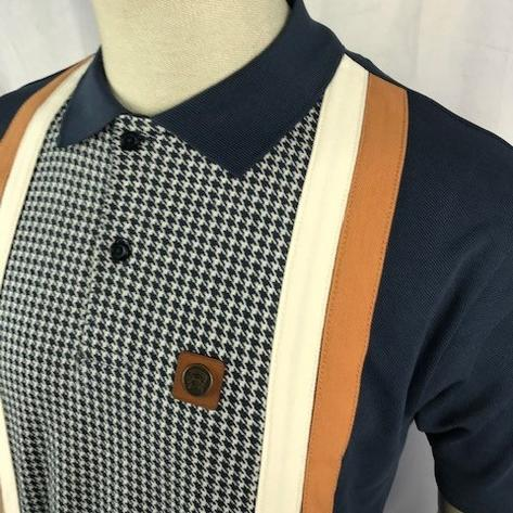 Trojan Records Houndstooth Panel Stripe Polo Navy Thumbnail 2