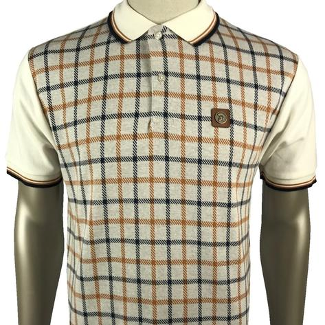 Trojan Records Large Check Panel Polo Fawn Thumbnail 1