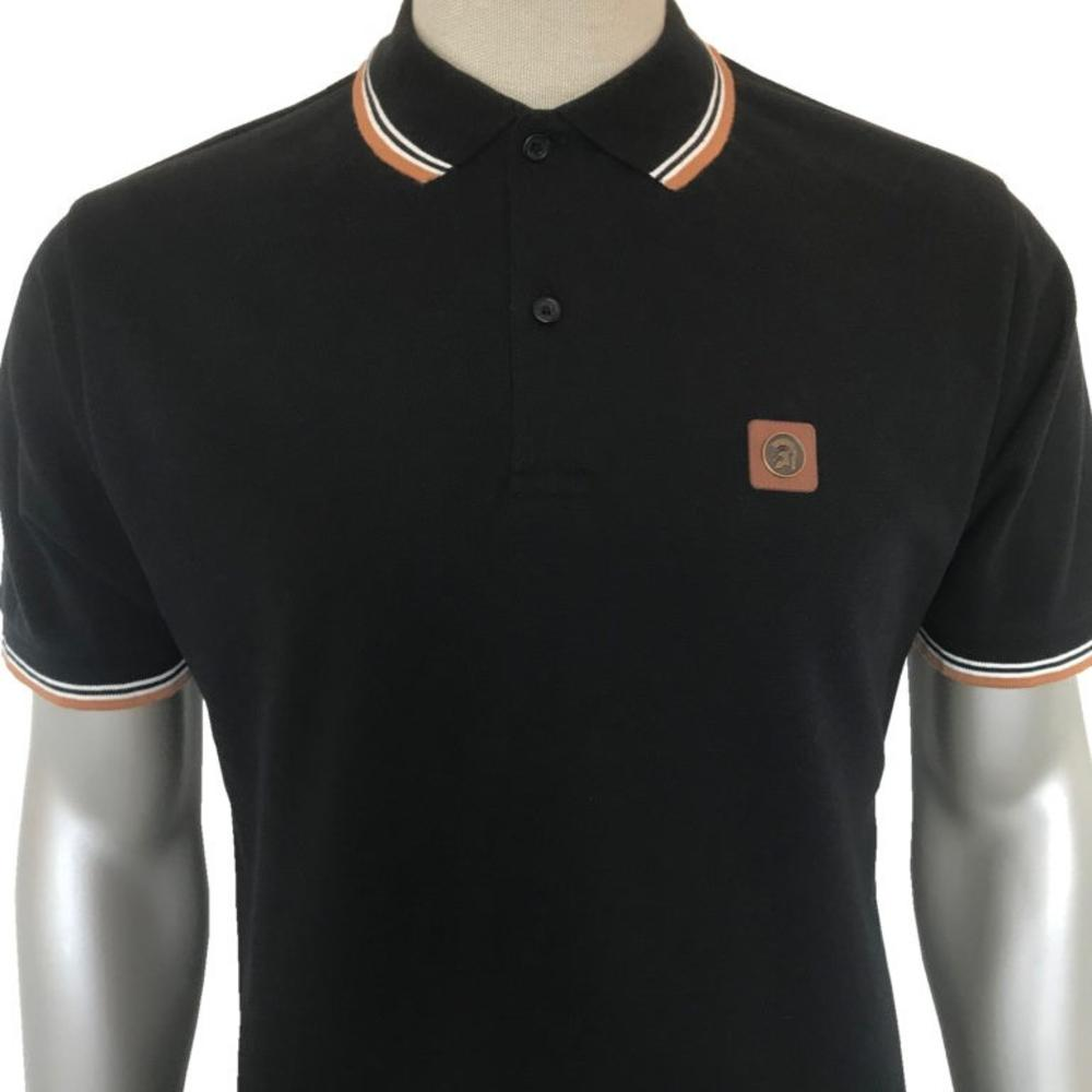 Trojan Records Mens Metal Badge Polo Shirt Black