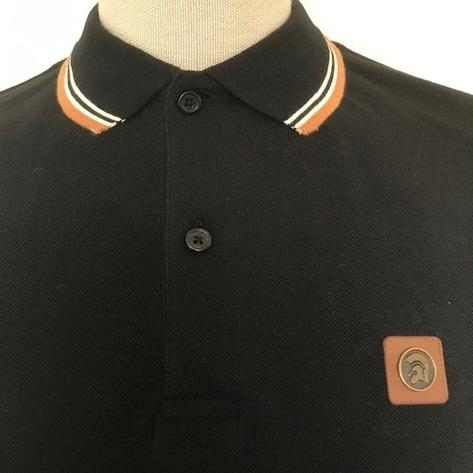 Trojan Records Mens Metal Badge Polo Shirt Black Thumbnail 3