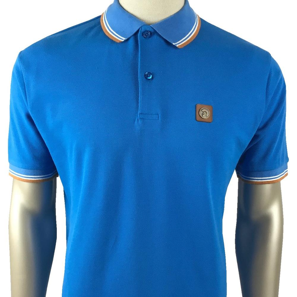 Trojan Records Mens Metal Badge Polo Shirt Turq
