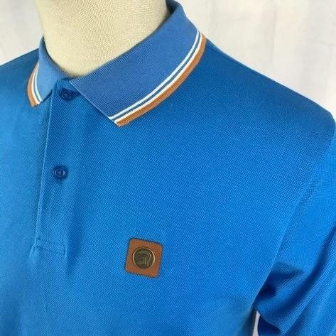 Trojan Records Mens Metal Badge Polo Shirt Turq Thumbnail 2