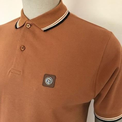 Trojan Records Mens Metal Badge Polo Shirt Tan Thumbnail 2