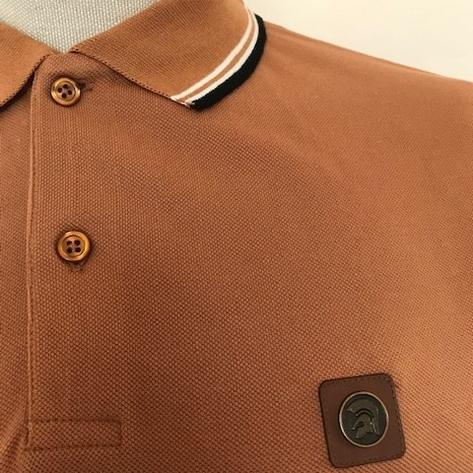 Trojan Records Mens Metal Badge Polo Shirt Tan Thumbnail 3