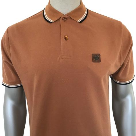 Trojan Records Mens Metal Badge Polo Shirt Tan