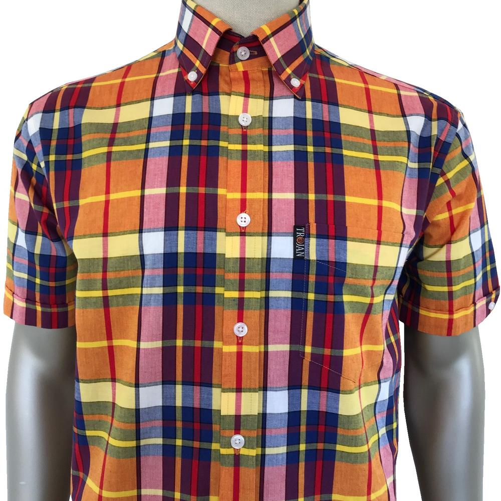Trojan Records Short Sleeve Gold Check Shirt FREE Hanky