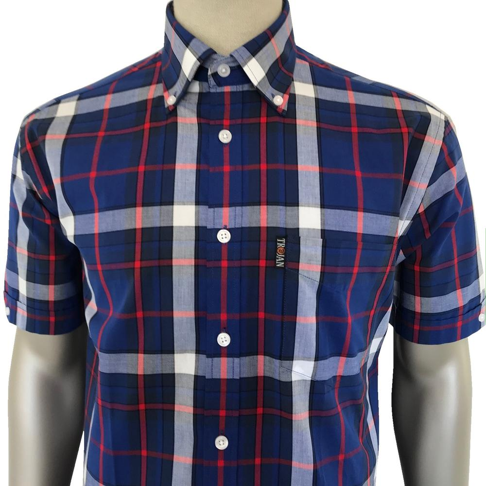 Trojan Records Short Sleeve Blue Check Shirt FREE Hanky
