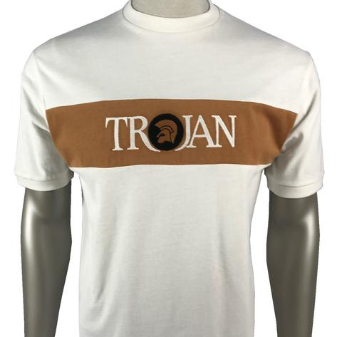 Trojan Records Embroidered Panel T-Shirt Ecru