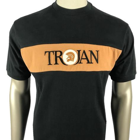 Trojan Records Embroidered Panel T-Shirt Black