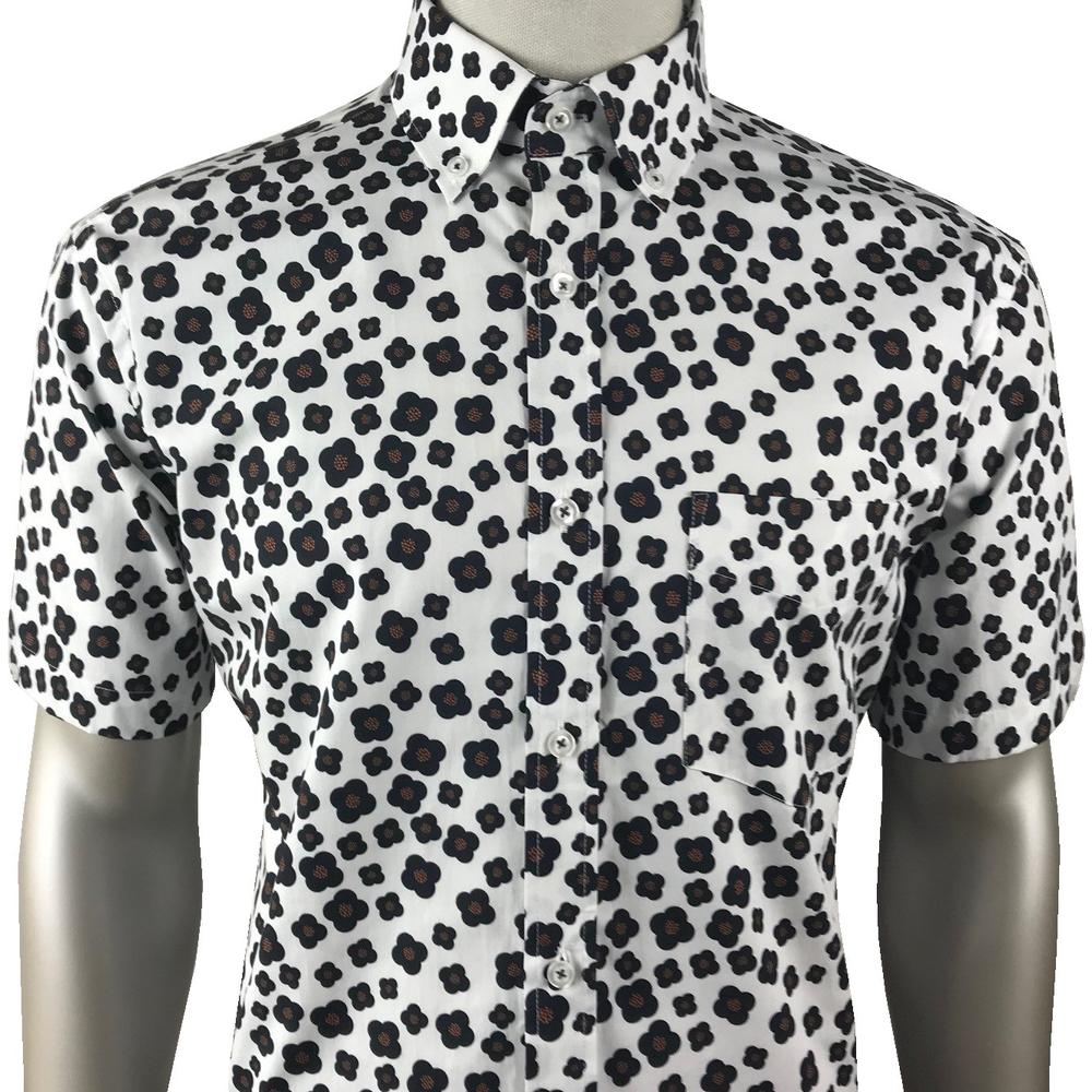 Ska & Soul Retro Floral Print Short Sleeve Shirt White