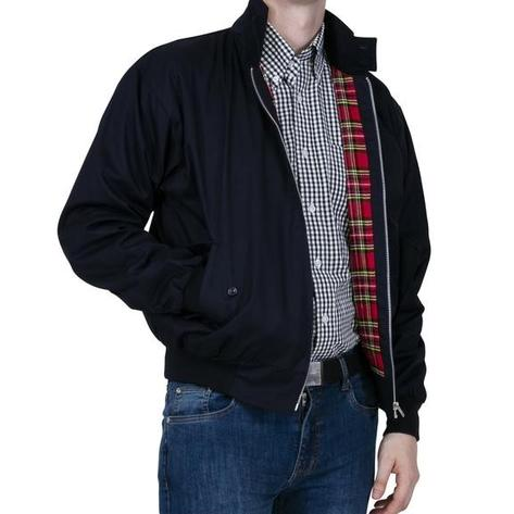 Relco Classic Red Tartan Lined Harrington Navy Blue Thumbnail 2