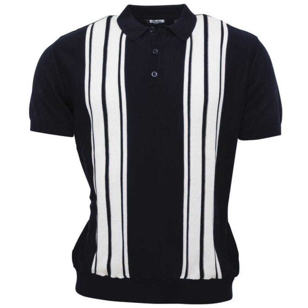 Relco Stripe Knit 3 Button Polo Navy