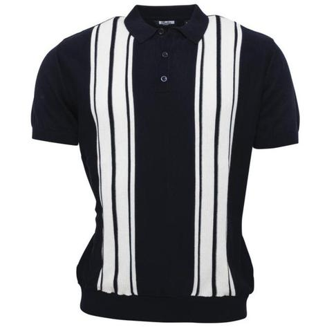 Relco Stripe Knit 3 Button Polo Navy Thumbnail 1