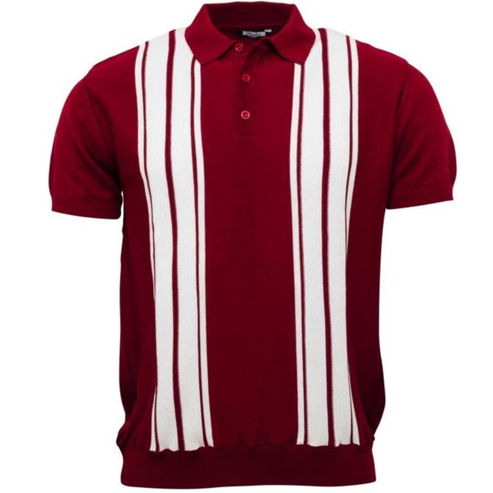 Relco Stripe Knit 3 Button Polo Burgundy