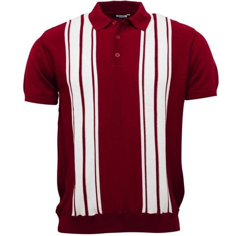 Relco Stripe Knit 3 Button Polo Burgundy Thumbnail 1