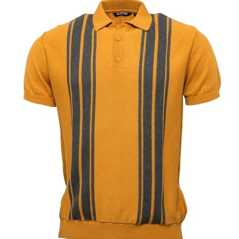Relco Stripe Knit 3 Button Polo Mustard Thumbnail 1