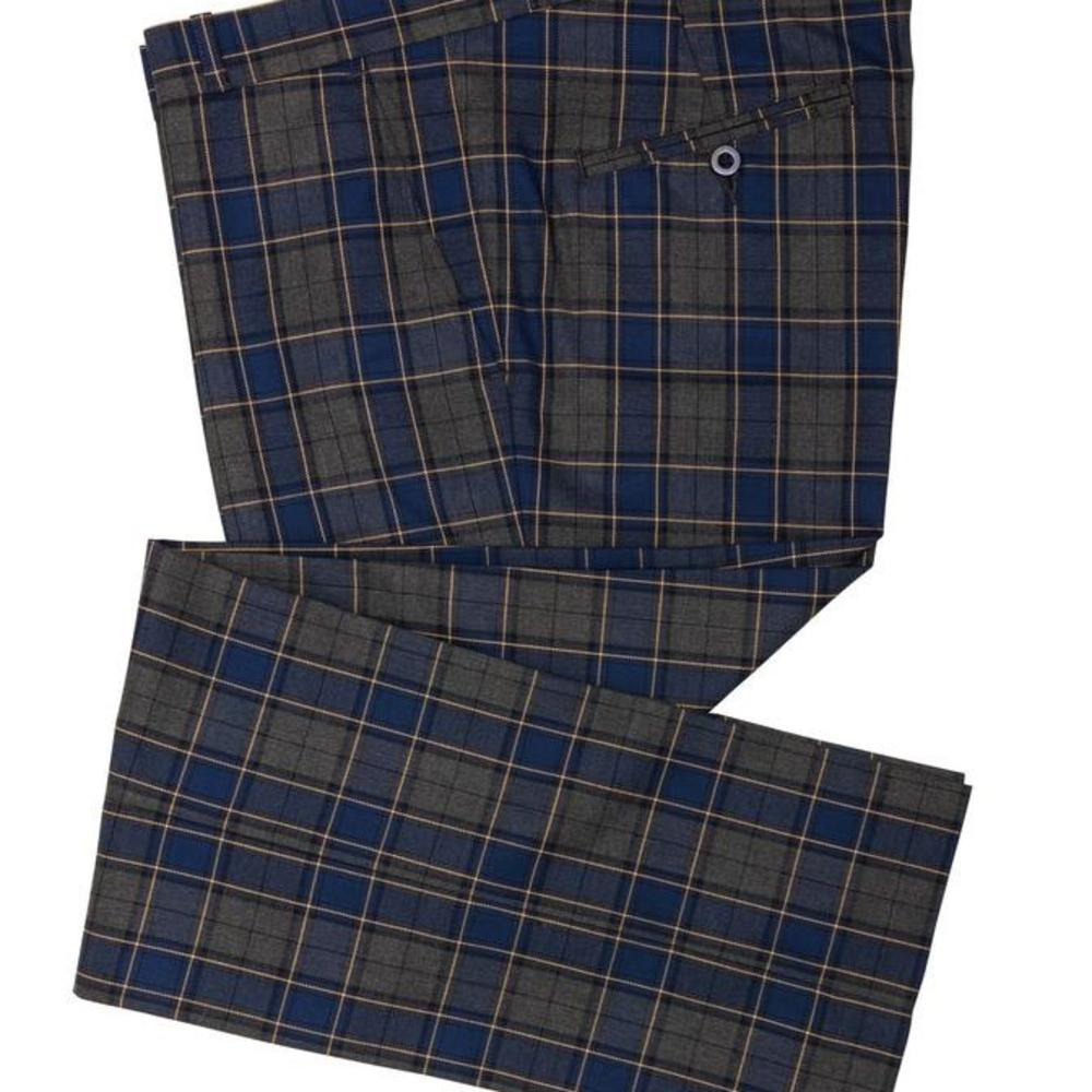 Relco Blue and Grey Tartan Check Sta Press Trousers