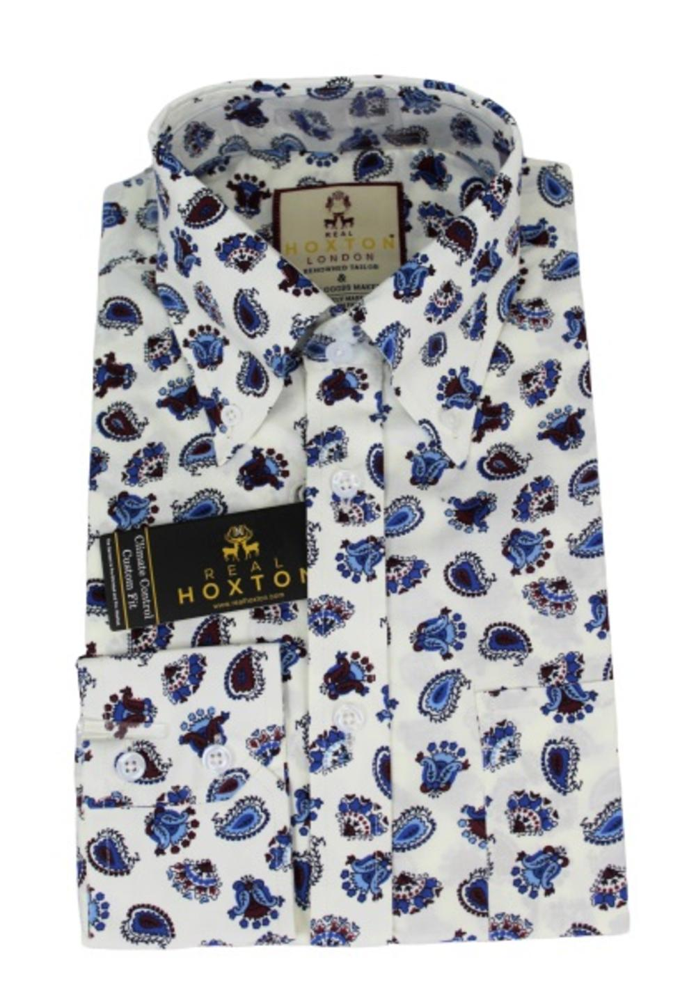 Real Hoxton Blue Paisley Print Shirt White