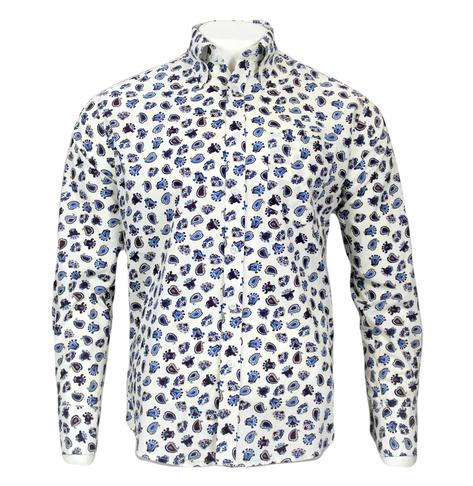 Real Hoxton Blue Paisley Print Shirt White Thumbnail 2