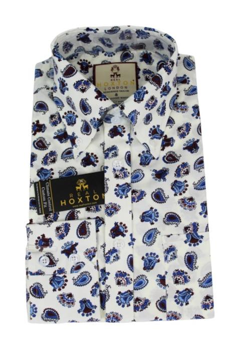 Real Hoxton Blue Paisley Print Shirt White Thumbnail 1