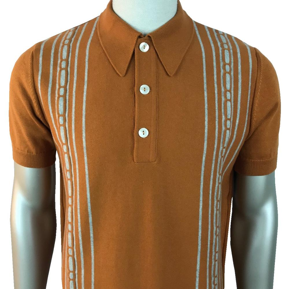 Trojan Records Spearpoint Collar Short Sleeve Knit Polo Tan